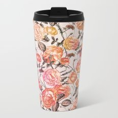 Vintage Floral Watercolor Pattern Metal Travel Mug