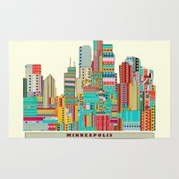 minneapolis Area & Throw Rugs featuring Minneapolis city  by bri.buckley