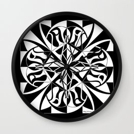 Think Mandala - Black White Wall Clock
