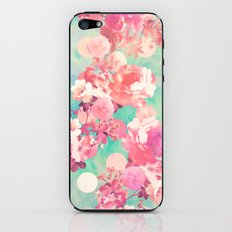 Romantic Pink Retro Floral Pattern Teal Polka Dots  iPhone & iPod Skin