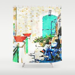 Agropoli: two men sitting on the bench Shower Curtain