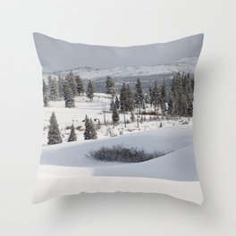 Yellowstone National Park - Blacktail Deer Plateau Panorama Throw Pillow