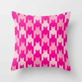 Pink Catstooth Pattern Throw Pillow