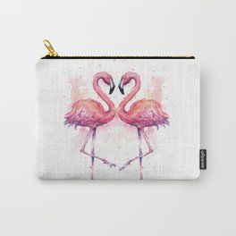 Flamingo Watercolor Two Flamingos in Love Carry-All Pouch