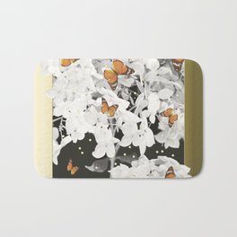 Hydrangea And Butterflies in Frame  Bath Mat