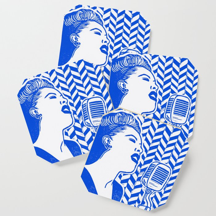 Lady Day (Billie Holiday block print) Coaster