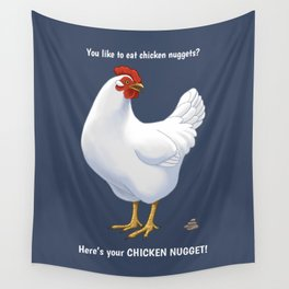 Funny White Hen Chicken Nugget Poop Wall Tapestry