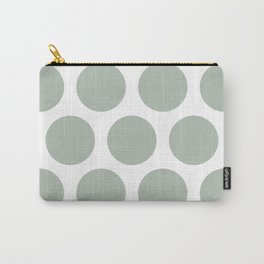 Large Polka Dots: Neutral Green Carry-All Pouch