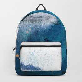 In the Surf: a vibrant minimal abstract painting in blues and gold Backpack