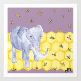 Elephant & Bees Art Print