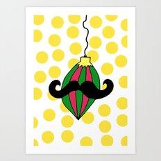 Moustache Bauble Art Print
