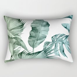 Tropical Palm Leaves Turquoise Green Blue Gradient Rectangular Pillow