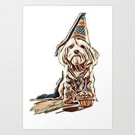 Funny maltese birthday dog with cake and hat. Studio shot. Grey background.        - Image Art Print
