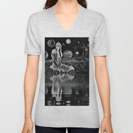 The Ghost of a Goddess, Ghostly Planetary Smoke of Dreams Unisex V-Neck