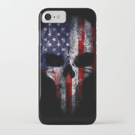 American Flag Punisher Skull Grunge Distress USA iPhone Case