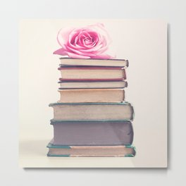 Grandfather's Memories, rose and old books, hazed melancholic edition Metal Print