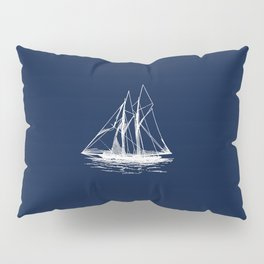Sailboat Sailing Boat in White and Nautical Navy Blue Pillow Sham