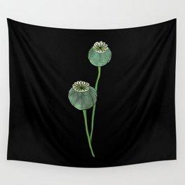 Seasons K Designs Poppy Pod Print on Black Wall Tapestry