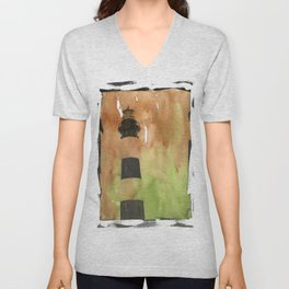 Bodie Island lighthouse at sunset in the Outer Banks (OBX) of North Carolina- USA.  Lighthouse painting fine art watercolor decor  Unisex V-Neck
