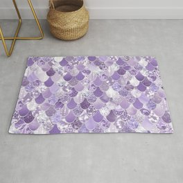 Mermaid Art, Cute Purple, Fun Bathroom Art Rug