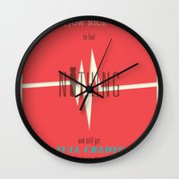 vonnegut Wall Clocks featuring Literary Quote Poster — Slaughterhouse 5 by Kurt Vonnegut by Evan Beltran