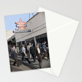 Pedestrians outside the A.B.C. Coffee Shop, 3700 East Hastings Street , Vancouver 1940s Stationery Cards