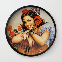 girl with guitarra Wall Clock