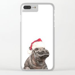 Christmas Baby Hippo Clear iPhone Case