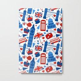 Fondo de patrón sin fisuras con hitos de Londres y símbolos de Gran Bretaña ilustración vectoria Metal Print