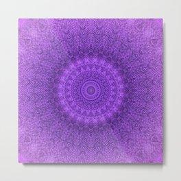 Sunflower Plum Boho Feather Pattern \\ Aesthetic Vintage Bohemian \\ Dark Violet Purple Color Scheme Metal Print