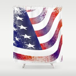 Worn American Flag Waving Shower Curtain