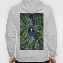 königssee waterfall alps bayern forrest drone aerial shot nature wanderlust vertical Hoody