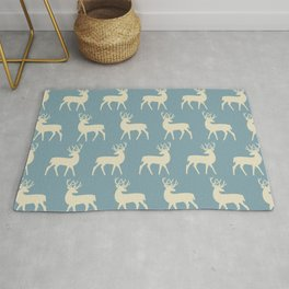 Mid Century Modern Deer Pattern Venetian Blue and Tan Rug