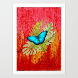 Blue Butterfly on Tropical Leaves Art Print