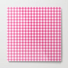 Gingham Print - Pink Metal Print