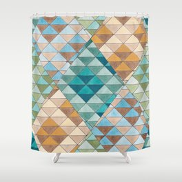 Triangle Patter No.15 Shifting Teal and Yellow Shower Curtain
