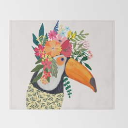 Toucan with flowers on head Throw Blanket
