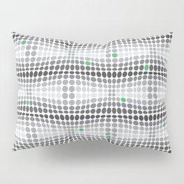 Dottywave - Grey and green wave dots pattern Pillow Sham