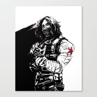 the winter soldier Canvas Prints featuring Winter Soldier by Irene Flores