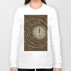 Steampunk, awesome clock Long Sleeve T-shirt