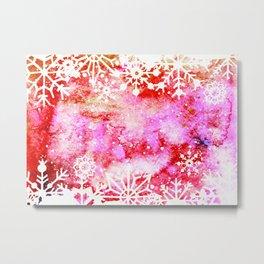 Red Painted Christmas Snowflake Metal Print