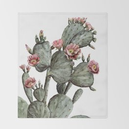 Prickly Pear Cactus Painting Throw Blanket