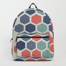 Honeycomb Geometrics, Vintage, Throw-Pillows, Art-Prints Backpack