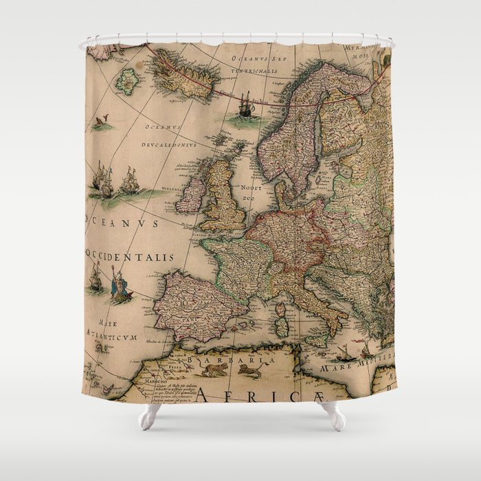 Antique Map Design Shower Curtain by mapmaker | Society6