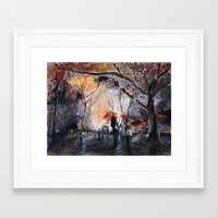 rain Framed Art Prints featuring Autumn rain - watercolor by Nicolas Jolly