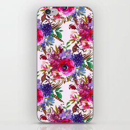 Magenta pink lavender blue watercolor bohemian floral iPhone Skin