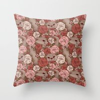 otters Throw Pillows featuring Rose Otters by FallenZephyr