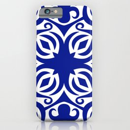 Blue and White Mediterranean Vintage Pattern iPhone Case
