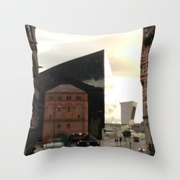 Contrasts of times in Liverpool Throw Pillow