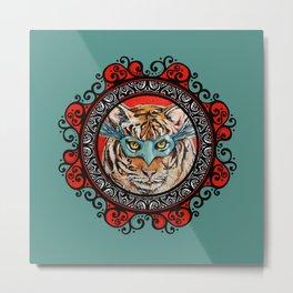Masquerade Bengal Tiger Mandala Metal Print